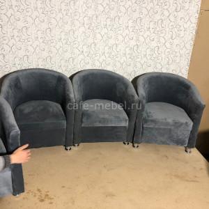 """Кресло """"Территория""""  полукруглое серое (Велюр)"""