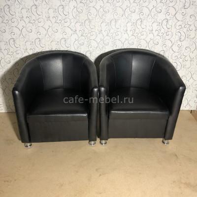 """Кресло """"Территория"""" полукруглое черное (экокожа)"""