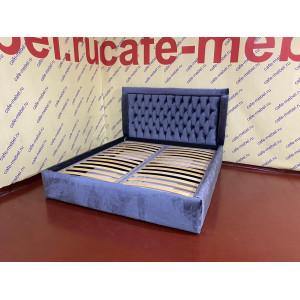 Кровать двуспальная (140, 160, 180*200) СИНЯЯ велюр
